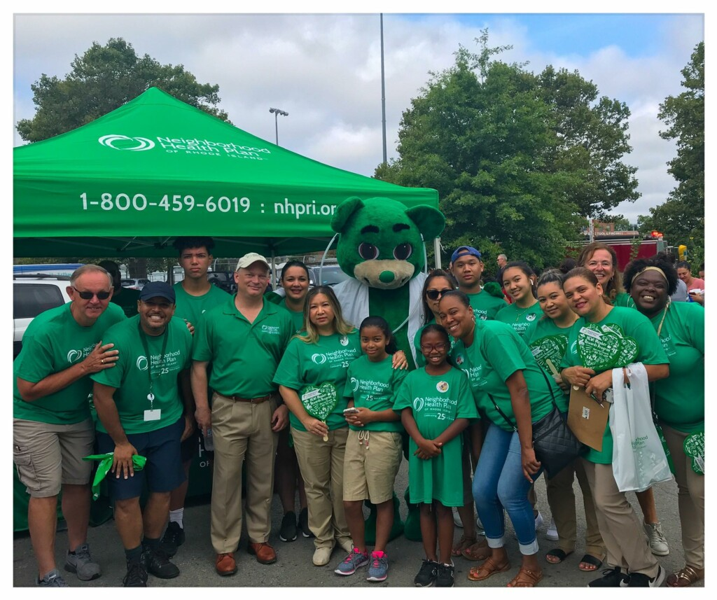 Employees and volunteers at a community event